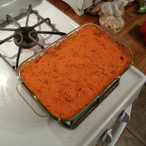 La De Blog - Vegetarian Shepherd's Pie with Carrot Sweet Potato Goat Cheese Topping