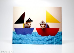 Rhymes with Twee - hedgehog postcard - Alasdair & Magoo sail the twee