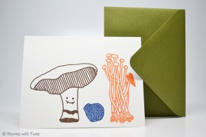 Rhymes with Twee - Mushroom Portobello Truffle Enoki Love Card